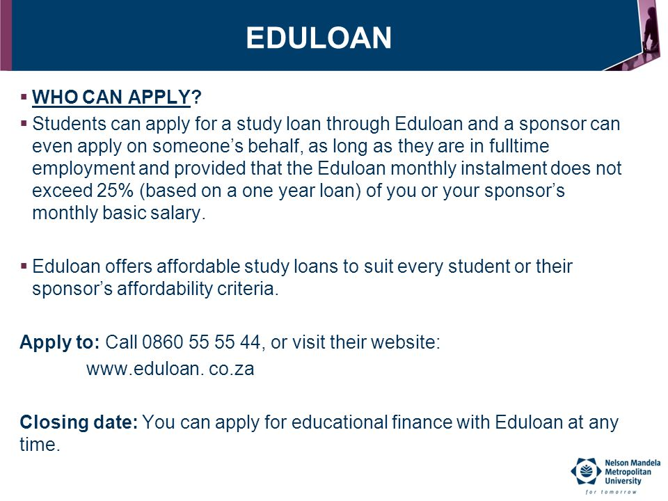 EDULOAN WHO CAN APPLY