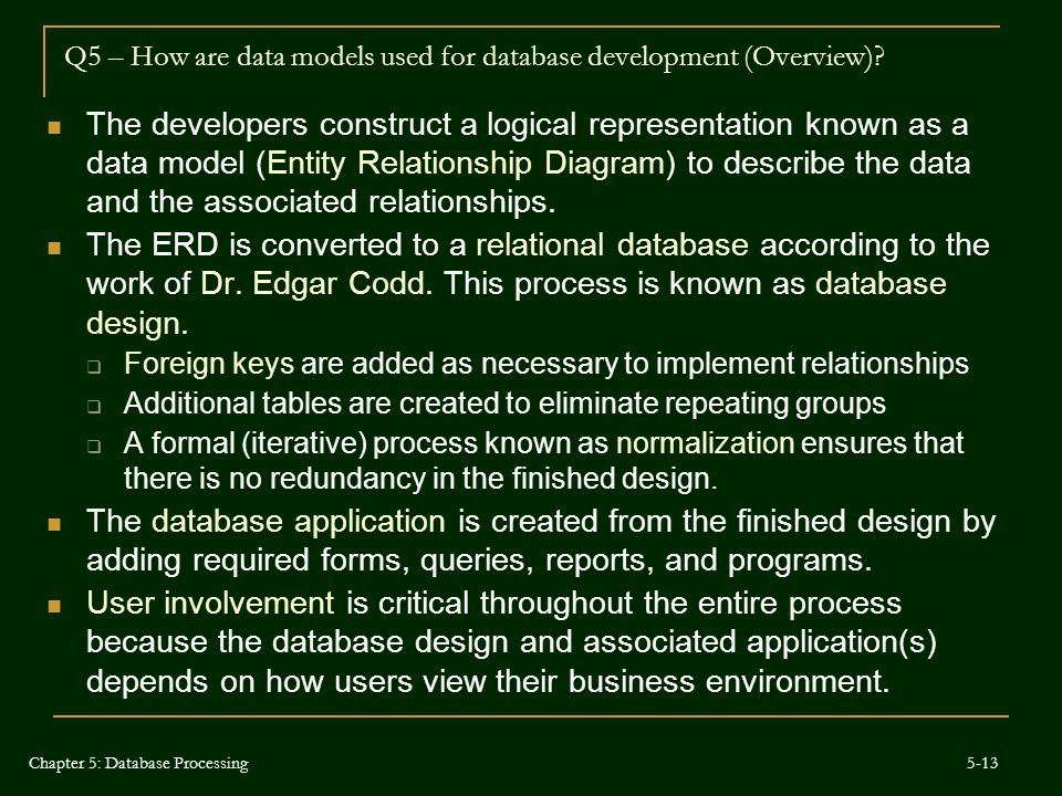 Q5 – How are data models used for database development (Overview)