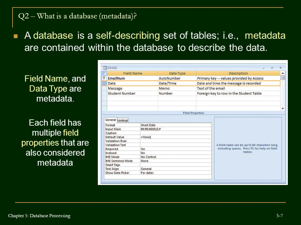 Q2 – What is a database (metadata)