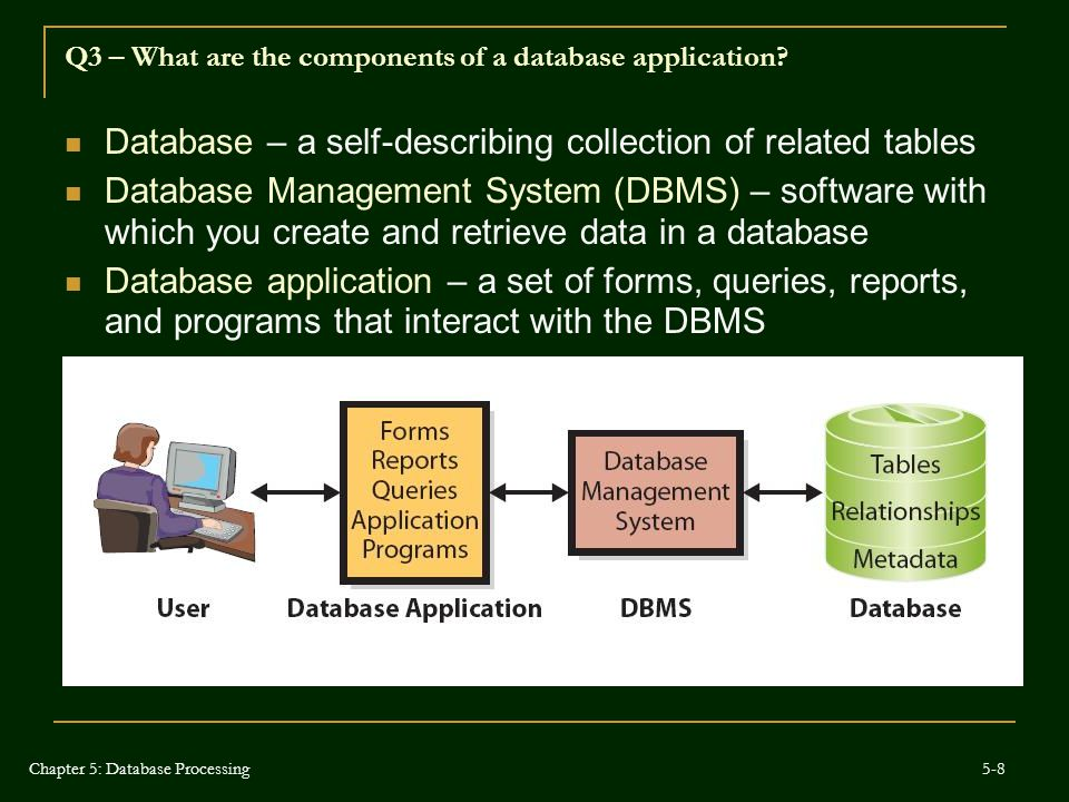 Q3 – What are the components of a database application