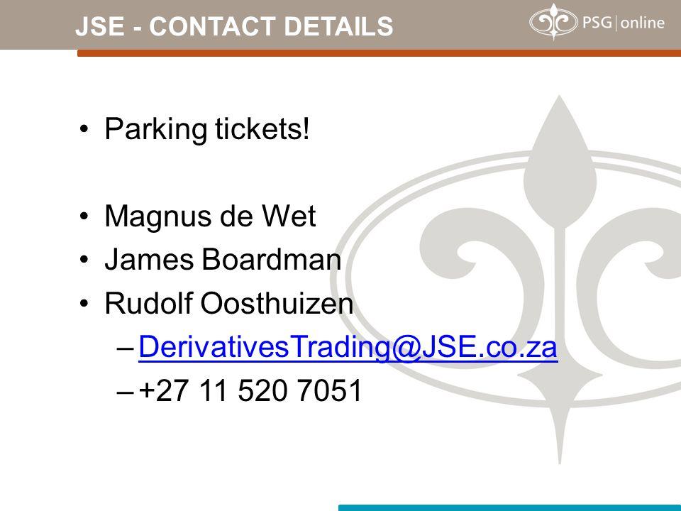 Parking tickets! Magnus de Wet James Boardman Rudolf Oosthuizen