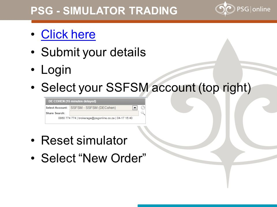PSG - SIMULATOR TRADING