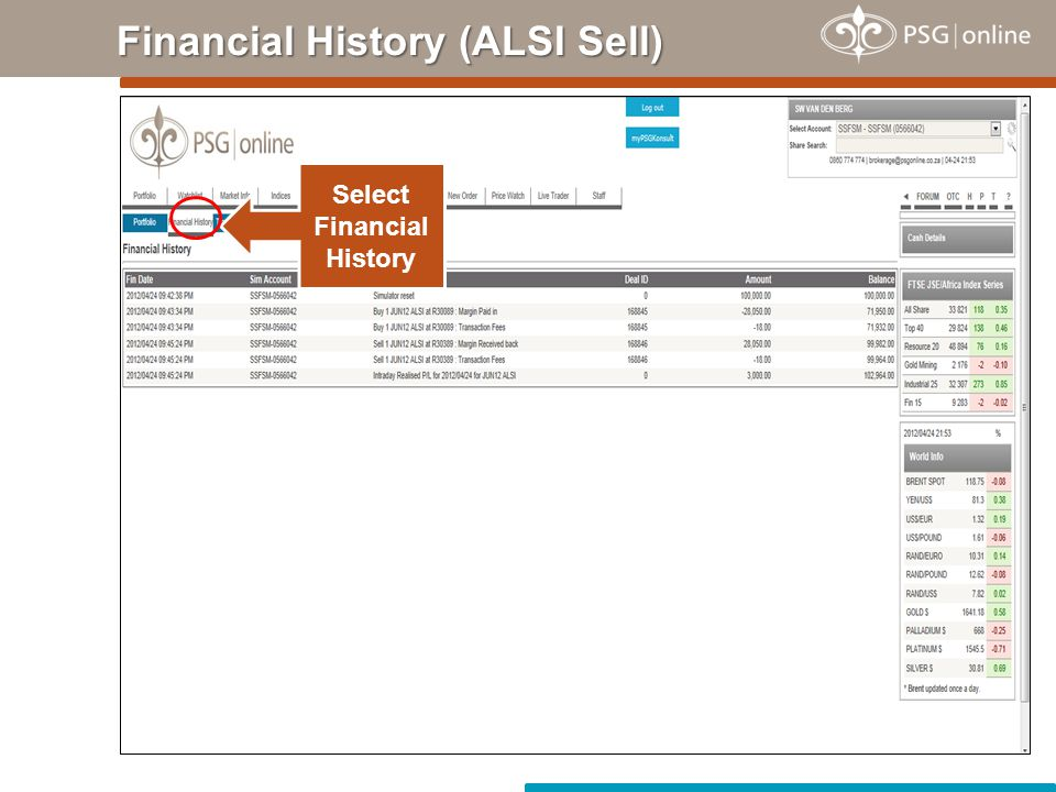 Financial History (ALSI Sell)