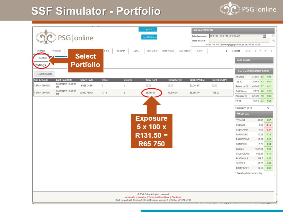 SSF Simulator - Portfolio