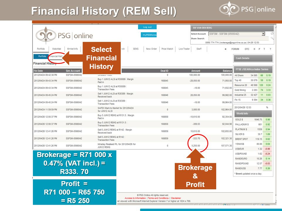 Financial History (REM Sell)