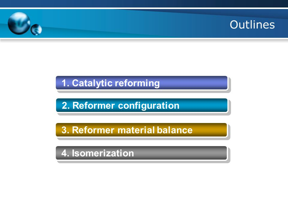Outlines 1. Catalytic reforming 2. Reformer configuration