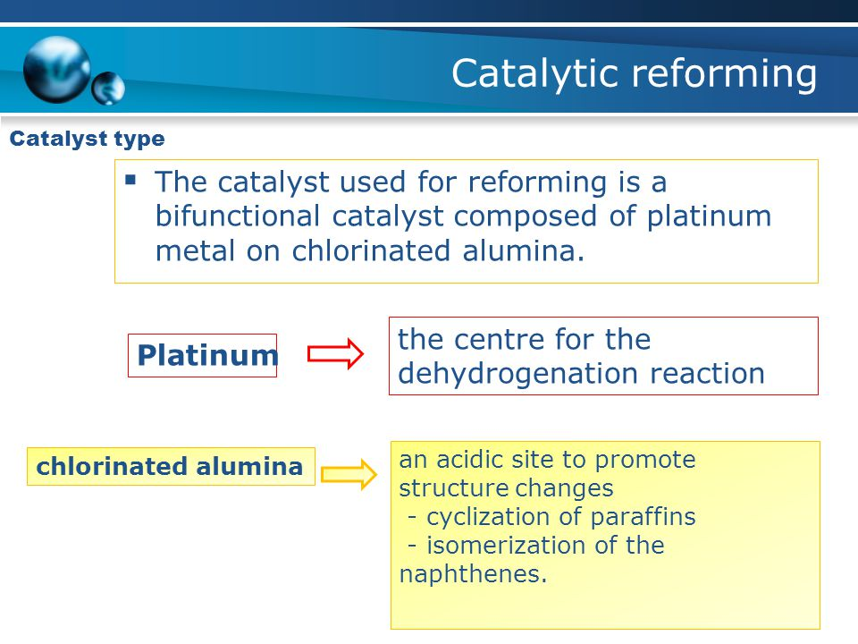 Catalytic reforming Catalyst type. The catalyst used for reforming is a bifunctional catalyst composed of platinum metal on chlorinated alumina.