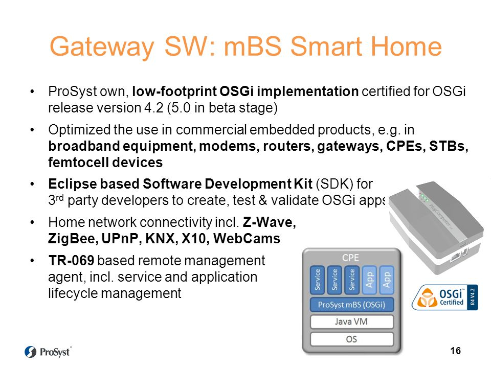 Gateway SW: mBS Smart Home