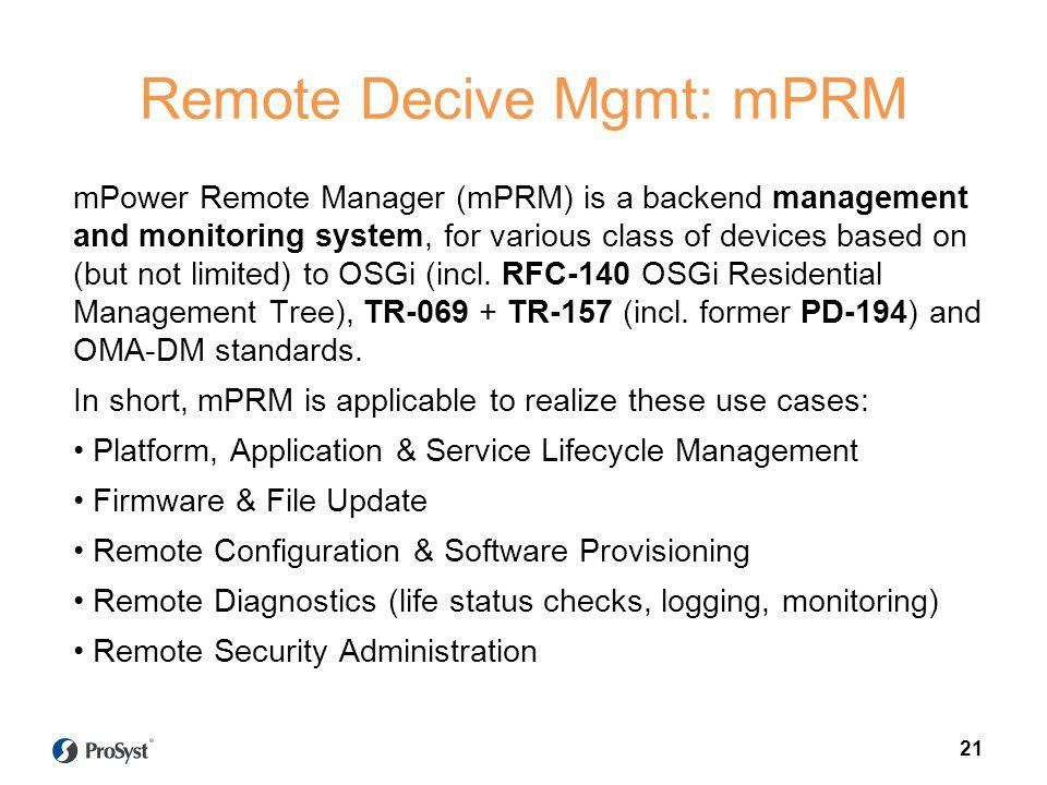 Remote Decive Mgmt: mPRM