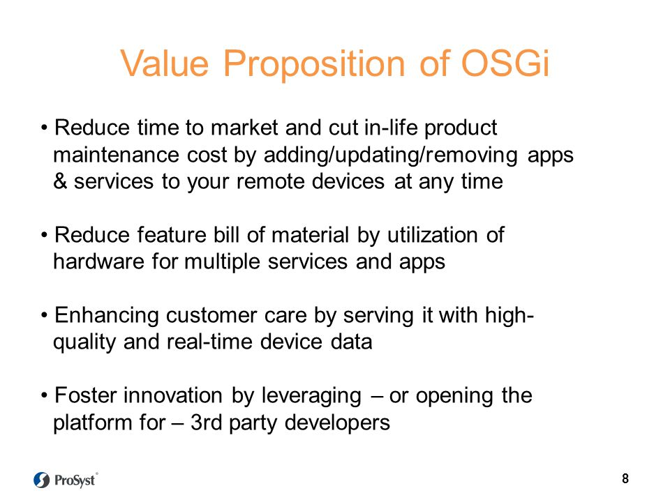 Value Proposition of OSGi