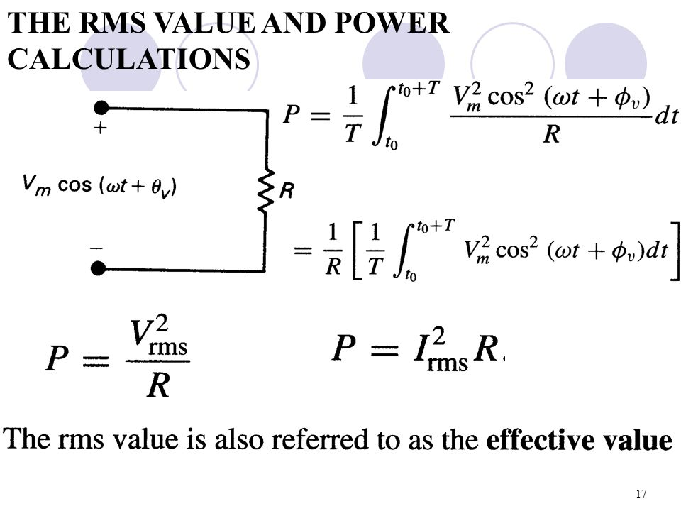 THE RMS VALUE AND POWER CALCULATIONS