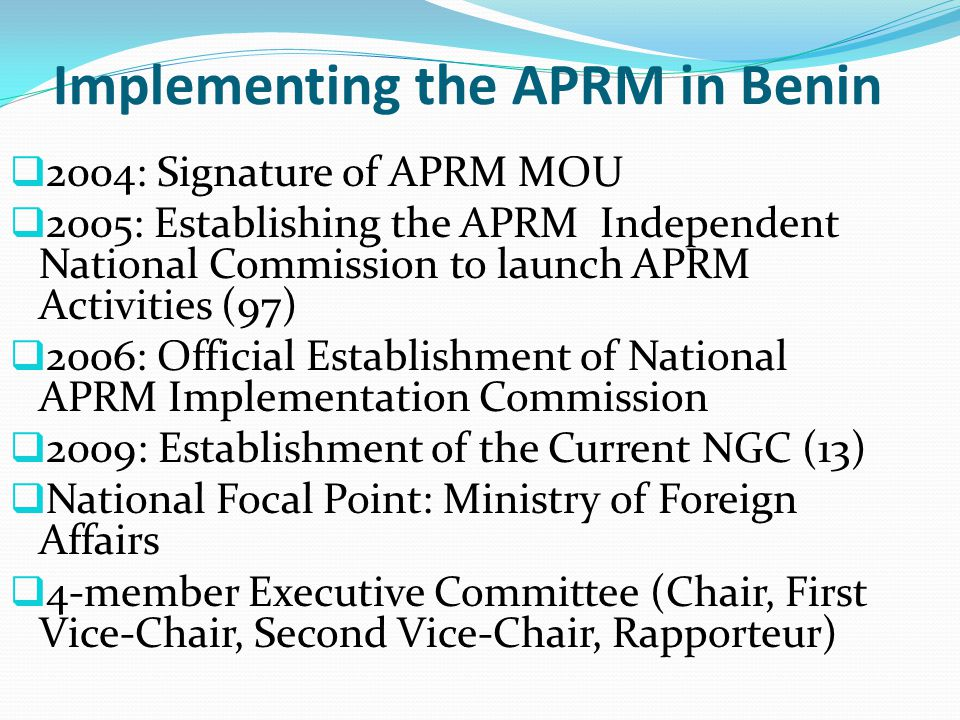 Implementing the APRM in Benin