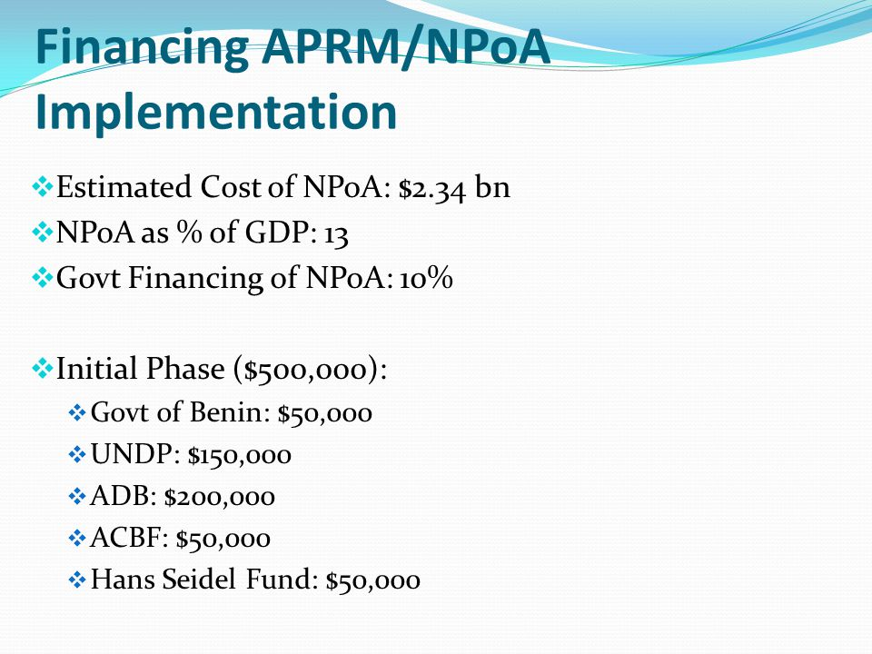 Financing APRM/NPoA Implementation