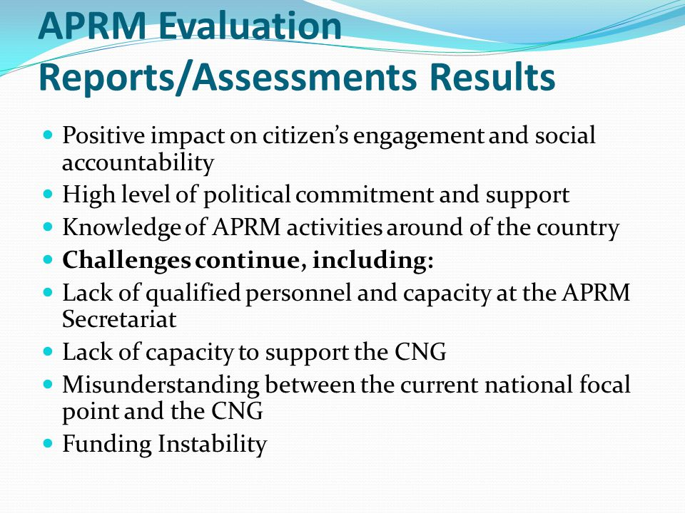 APRM Evaluation Reports/Assessments Results