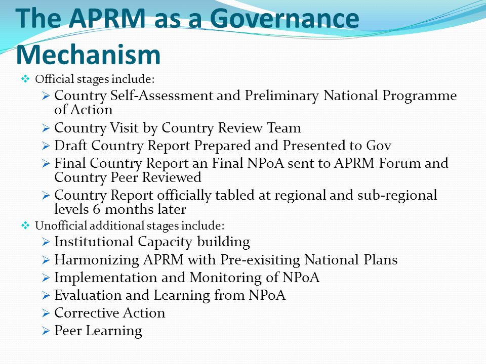The APRM as a Governance Mechanism