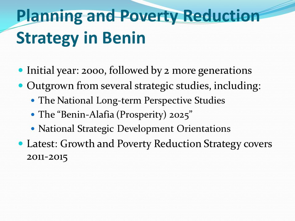 Planning and Poverty Reduction Strategy in Benin