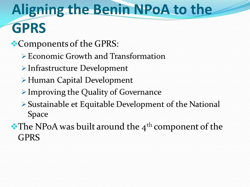 Aligning the Benin NPoA to the GPRS