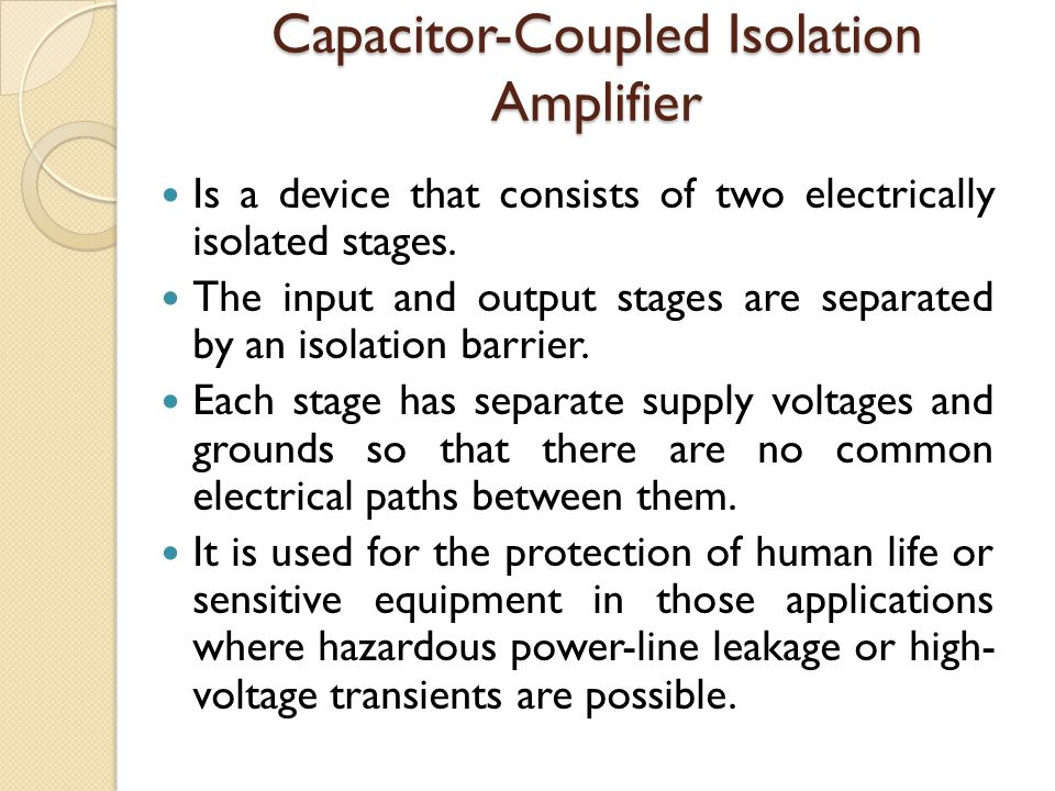 Capacitor-Coupled Isolation Amplifier