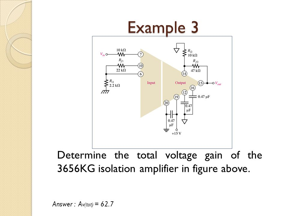 Example 3 Determine the total voltage gain of the 3656KG isolation amplifier in figure above.