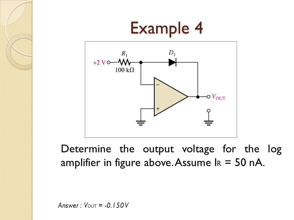 Example 4 Determine the output voltage for the log amplifier in figure above.