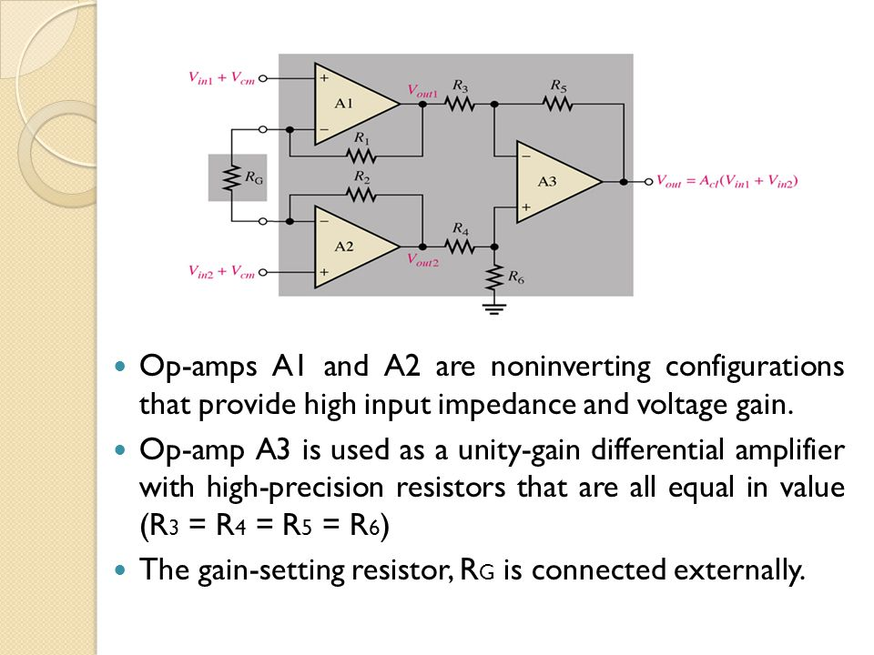 Op-amps A1 and A2 are noninverting configurations that provide high input impedance and voltage gain.