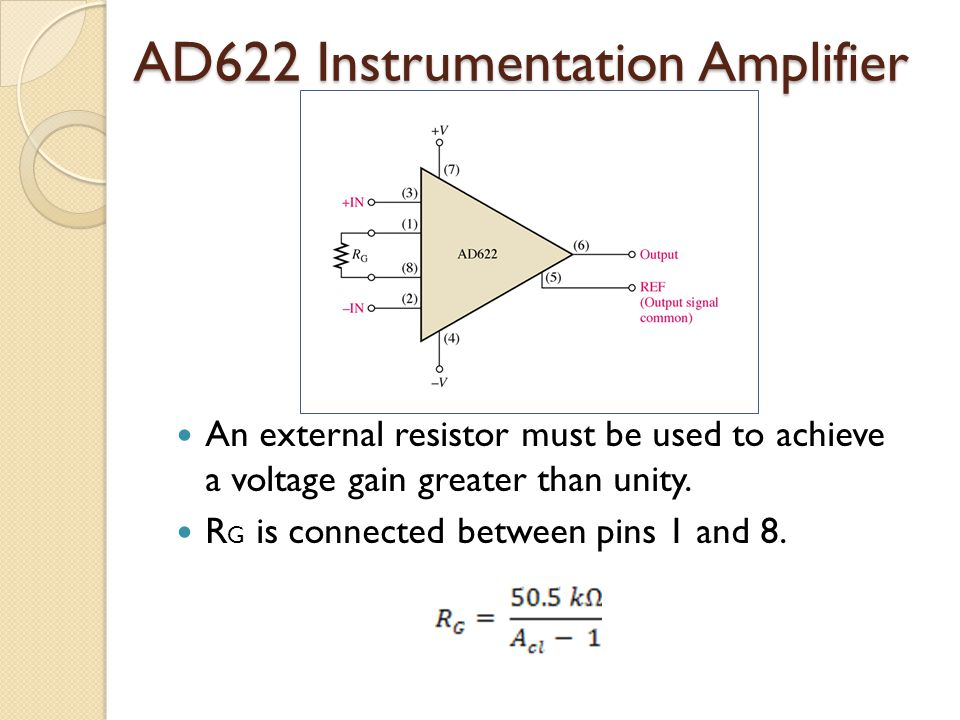 AD622 Instrumentation Amplifier