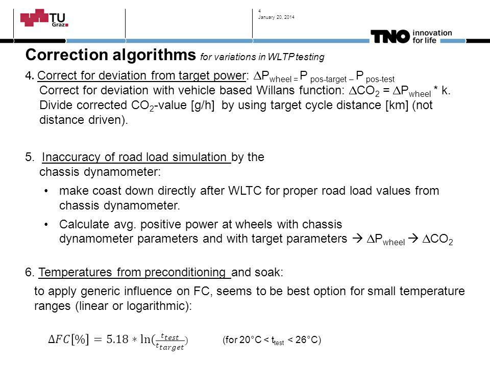 Correction algorithms for variations in WLTP testing