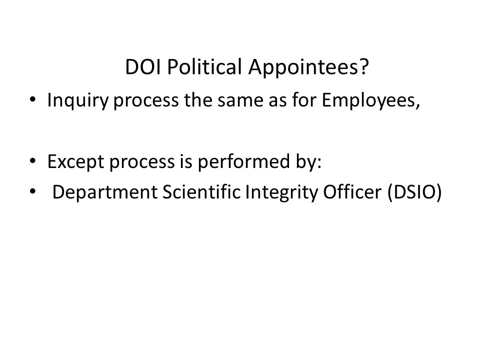 DOI Political Appointees