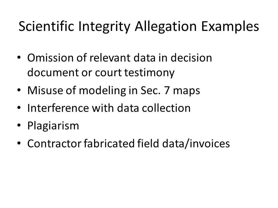 Scientific Integrity Allegation Examples