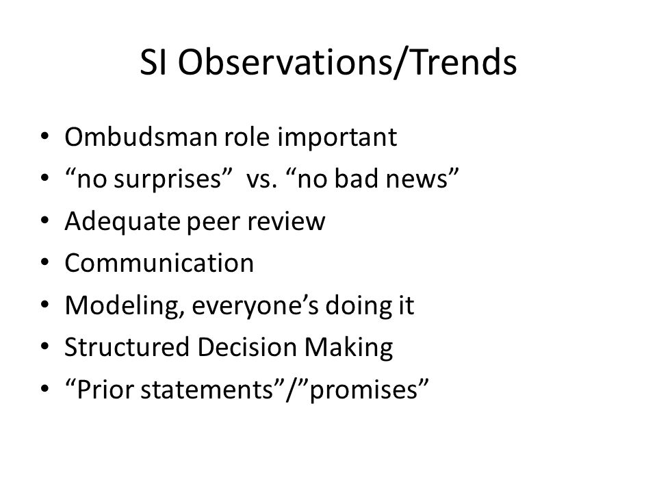 SI Observations/Trends