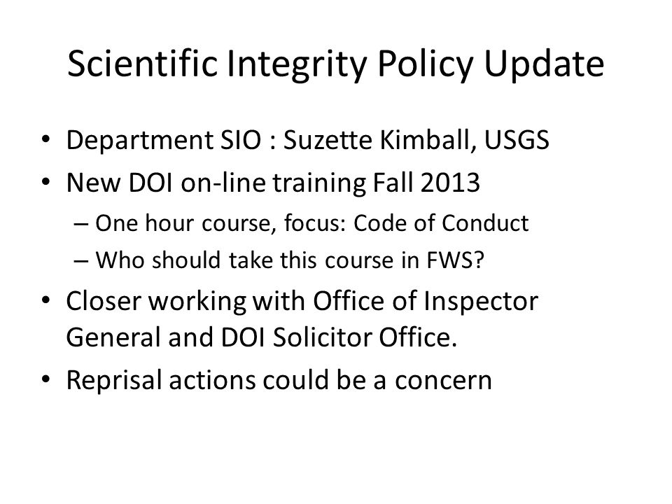 Scientific Integrity Policy Update