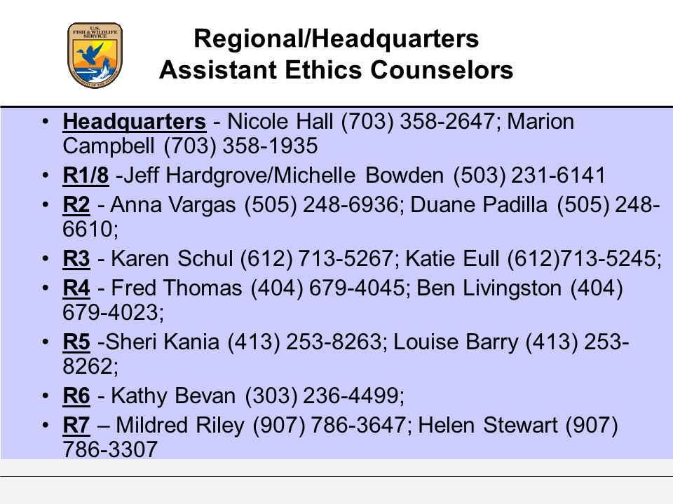 Regional/Headquarters Assistant Ethics Counselors