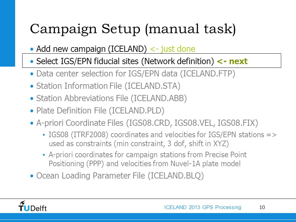 Campaign Setup (manual task)