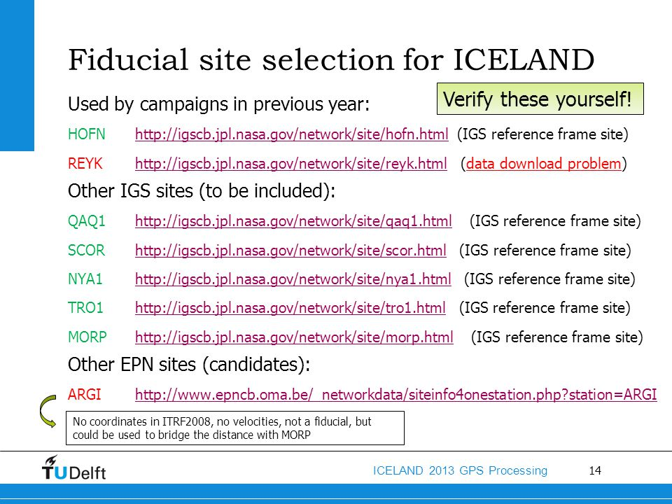 Fiducial site selection for ICELAND
