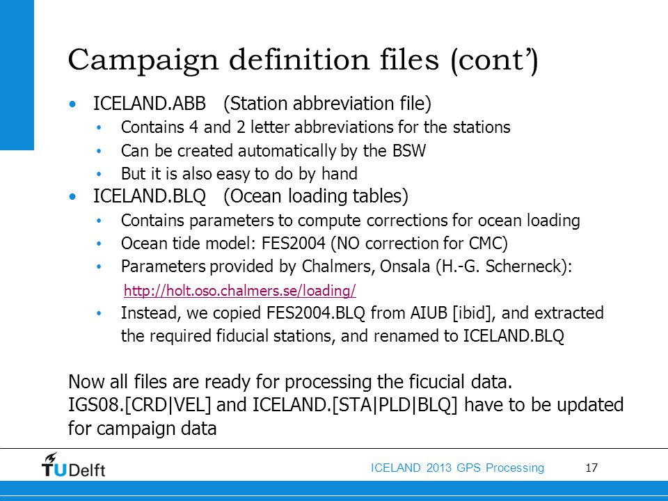 Campaign definition files (cont')