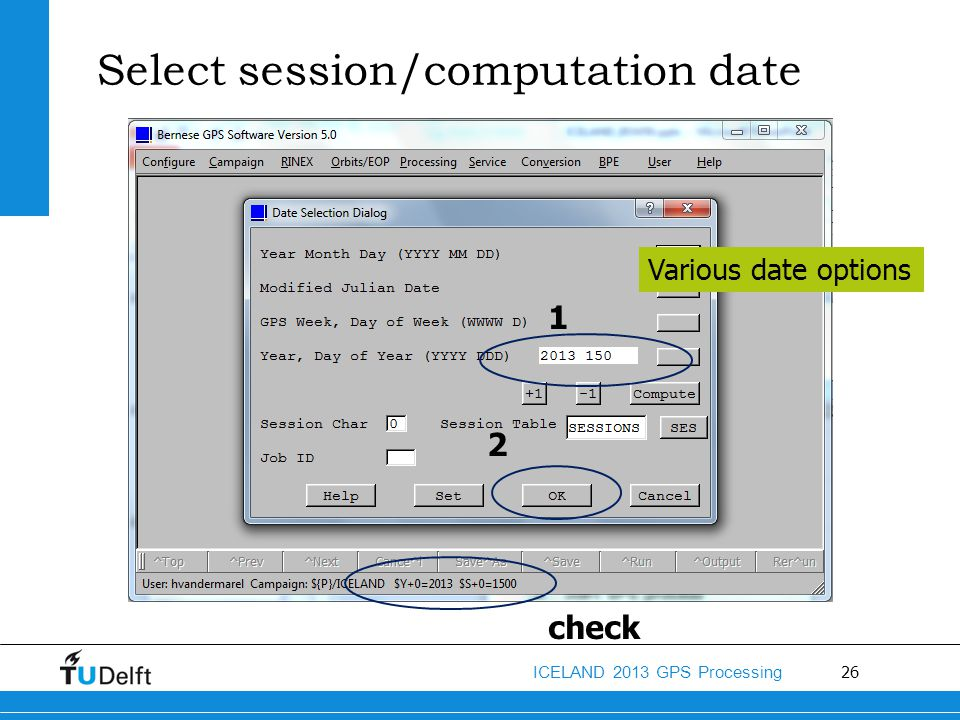 Select session/computation date