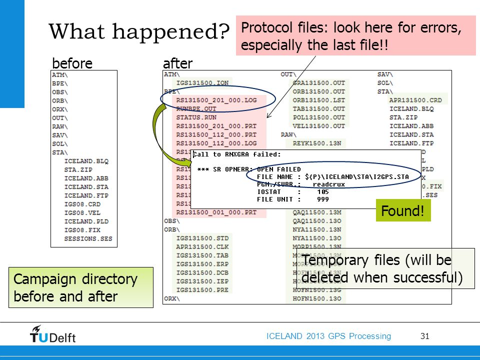 What happened Protocol files: look here for errors, especially the last file!! before. after. Found!