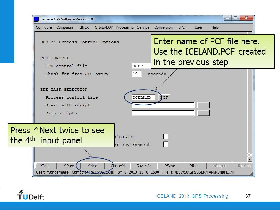 Enter name of PCF file here. Use the ICELAND
