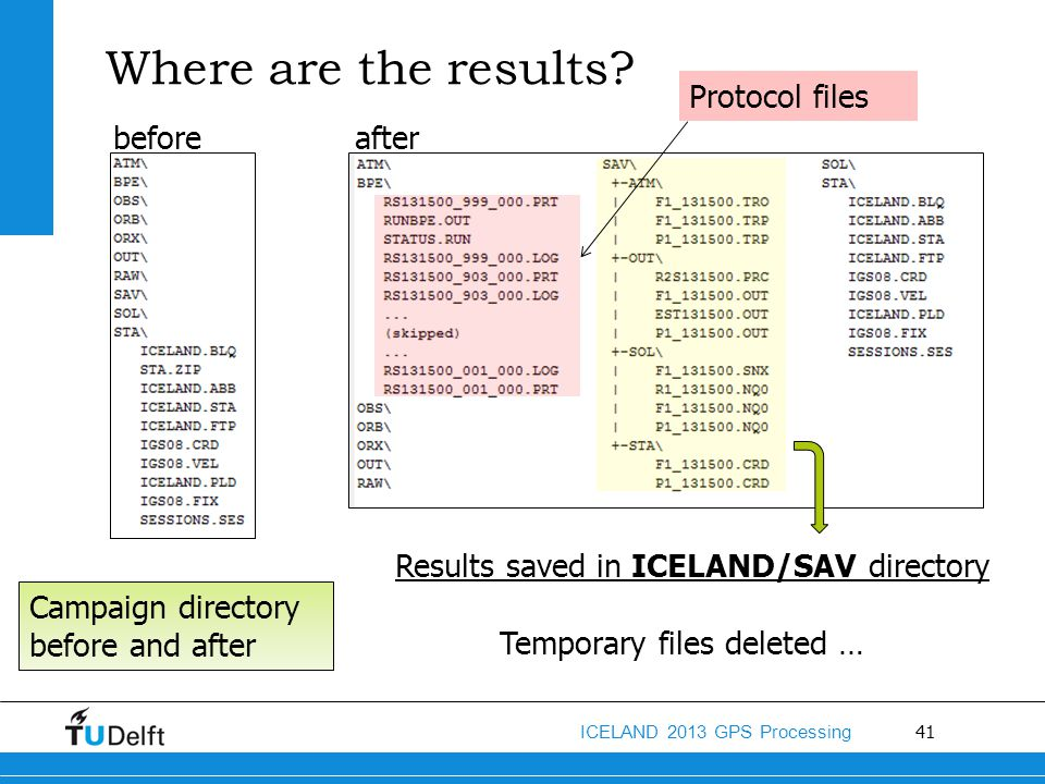 Where are the results Protocol files before after