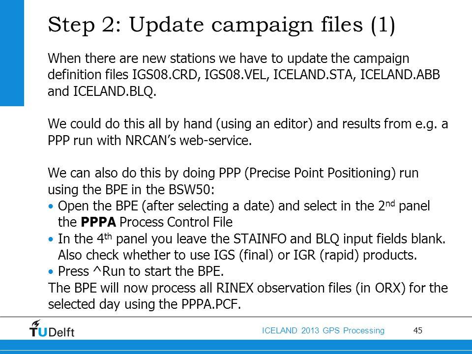 Step 2: Update campaign files (1)