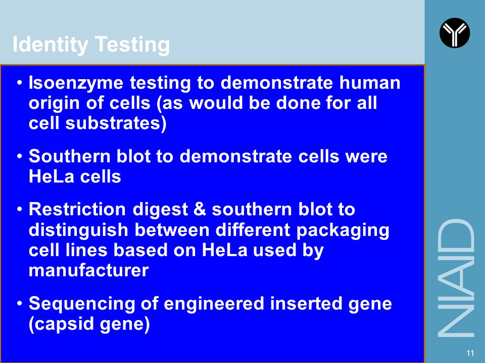 Identity Testing Isoenzyme testing to demonstrate human origin of cells (as would be done for all cell substrates)
