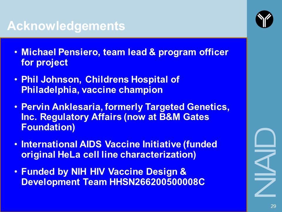 Acknowledgements Michael Pensiero, team lead & program officer for project. Phil Johnson, Childrens Hospital of Philadelphia, vaccine champion.