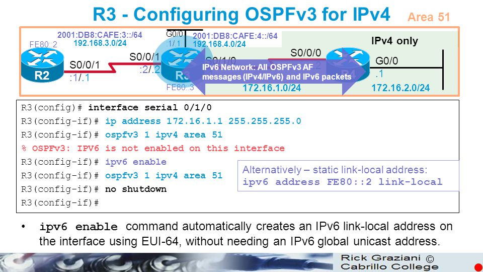 R3 - Configuring OSPFv3 for IPv4