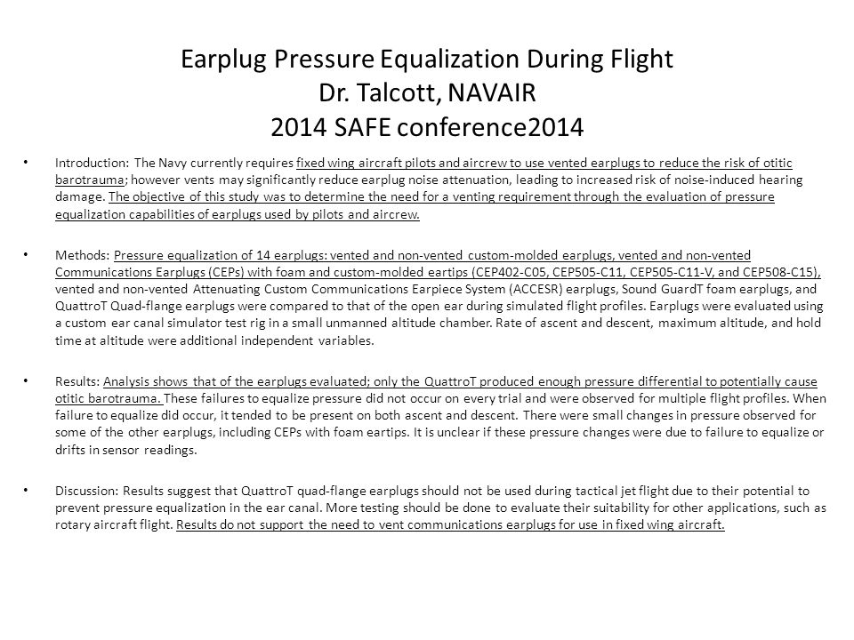 Earplug Pressure Equalization During Flight Dr
