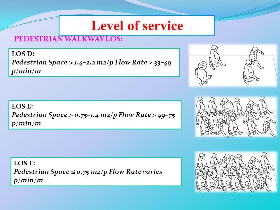 Level of service PEDESTRIAN WALKWAY LOS: LOS D: