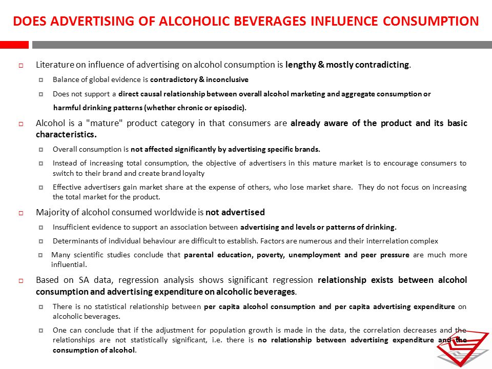 DOES ADVERTISING OF ALCOHOLIC BEVERAGES INFLUENCE CONSUMPTION