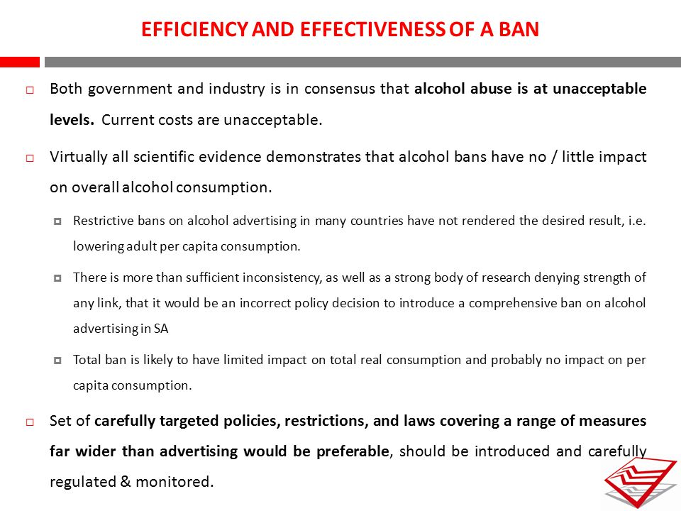 EFFICIENCY AND EFFECTIVENESS OF A BAN