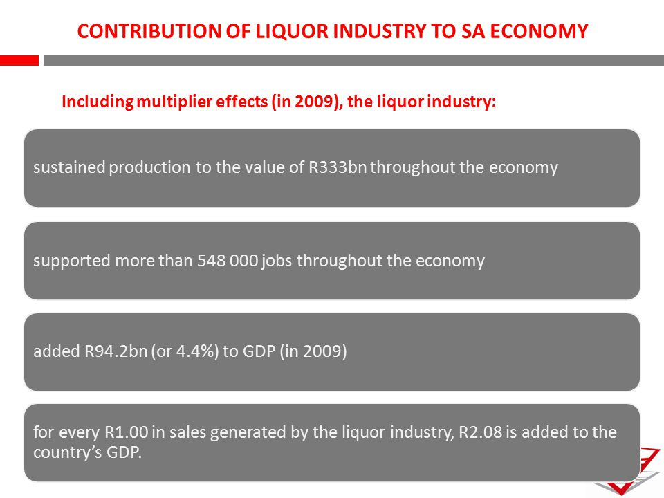 CONTRIBUTION OF LIQUOR INDUSTRY TO SA ECONOMY