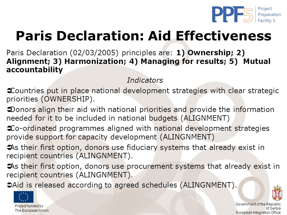 Paris Declaration: Aid Effectiveness