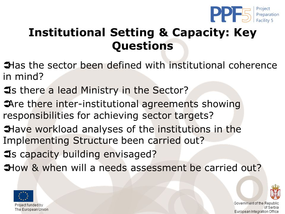 Institutional Setting & Capacity: Key Questions